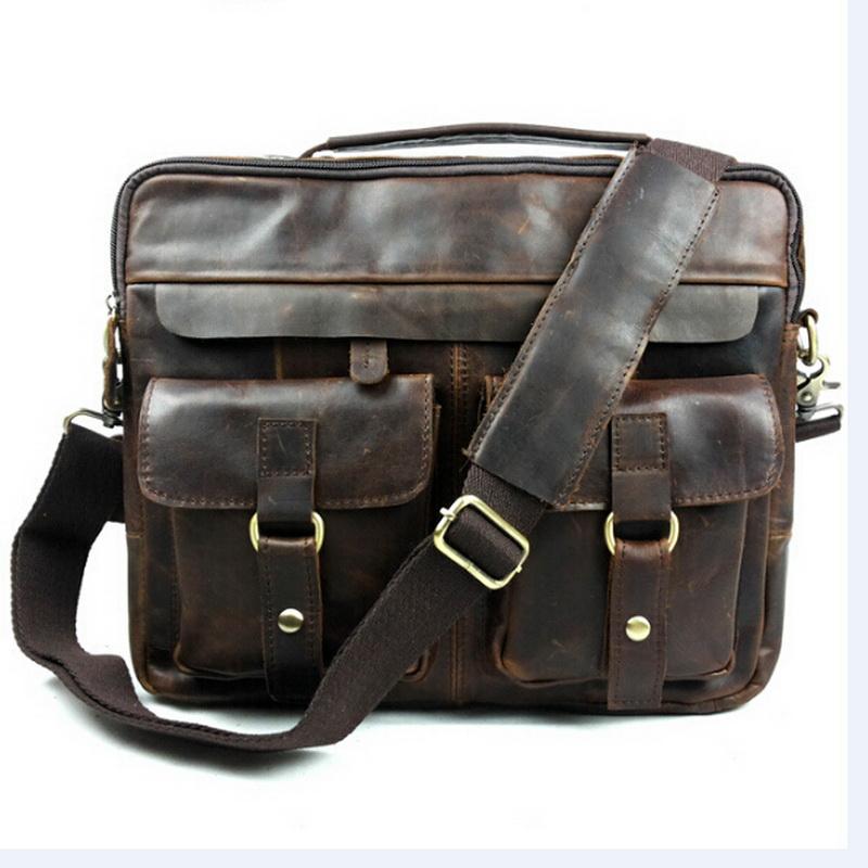 100% Genuine Leather Handbags Men bag crossbody bag Men Crazy Horse Leather Messenger Bags Shoulder Bags Briefcase Free Shipping(China (Mainland))