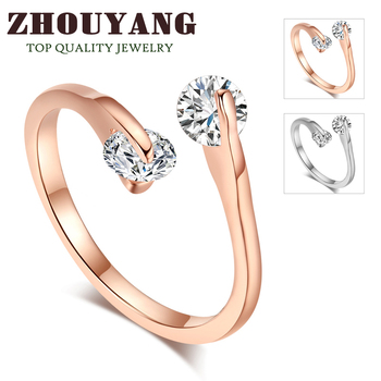 ZYR007  Fashion Design Twin Zircon CZ Engagement 18K Rose Gold Plated  Wedding Ring  Austrian Crystals Full Sizes Wholesale