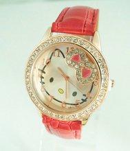 Christmas holiday sale Gogoey fashion hello kitty watch children crystal quartz wrist watch Wholesale factory price Go023(China (Mainland))