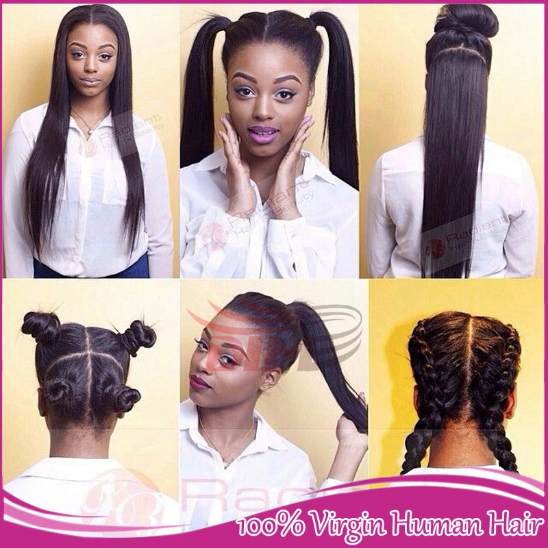 7A High ponytail full lace wigs silky straight glueless peruvian lace wig virgin cheap human hair lace front wigs black women(China (Mainland))