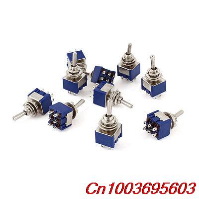 10 Pcs AC 125V 6A DPDT ON-ON 2 Position Locking 6 Pin Toggle Switch Replacement(China (Mainland))