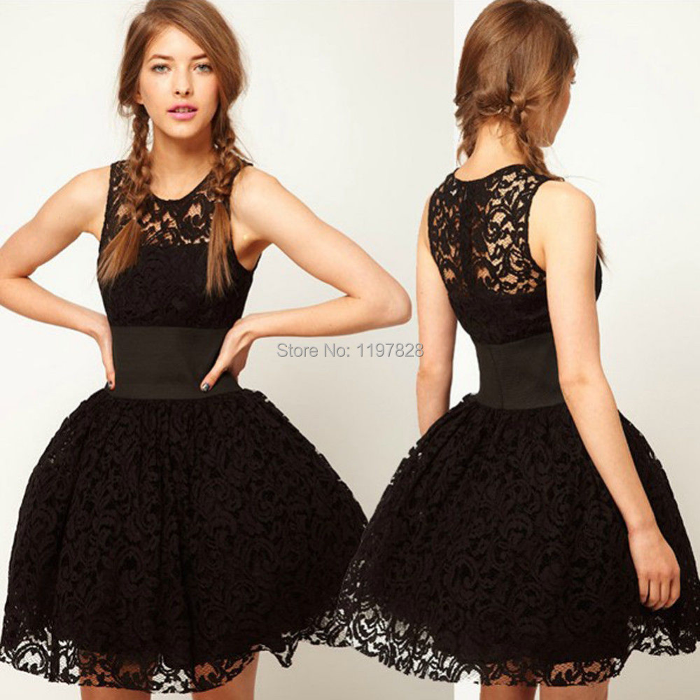 New Vintage Women Sleeveless Queen Princess Black Tutu Party Dresses Casual Black Lace Dresses Prom Gilr's Cocktail Dress(China (Mainland))