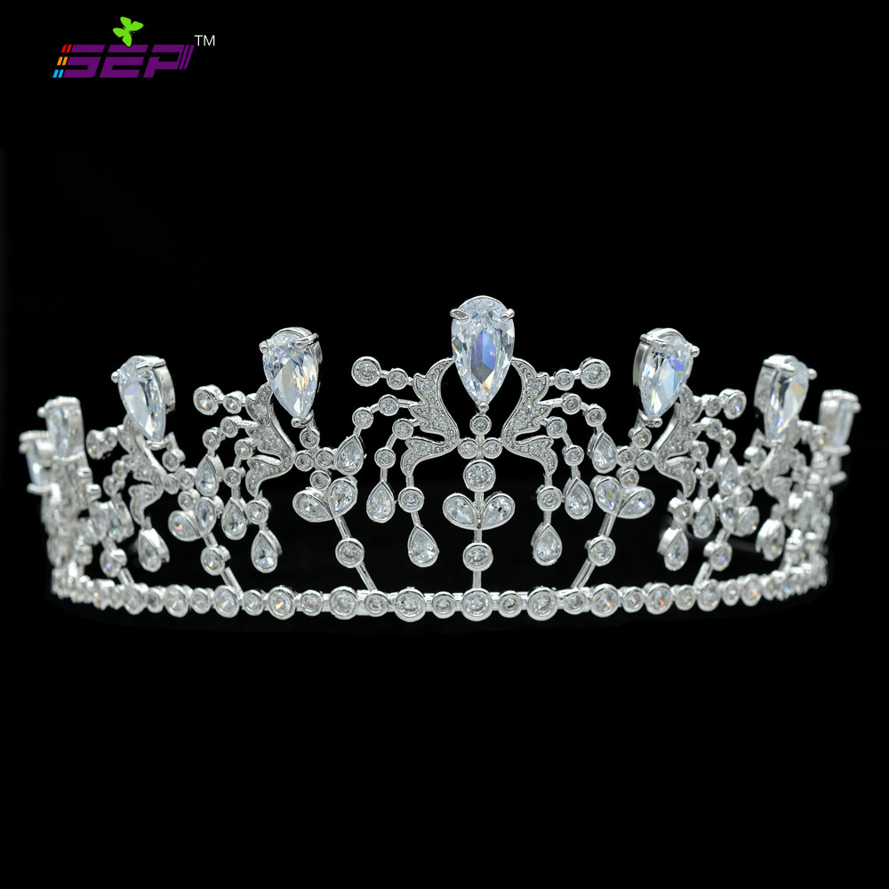 Handmade Pave AAA CZ Tiaras Full Crowns Bridal Wedding Hair Accessories Jewelry Pageant Crown Headpece TR15079(China (Mainland))