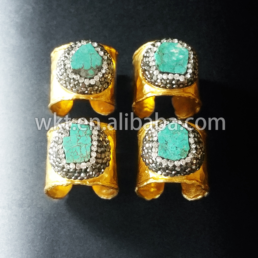 Exclusive! Natural green turquoise cigar ring, 24K gold plated hammered fashion hot ring - WKT stone jewelry store