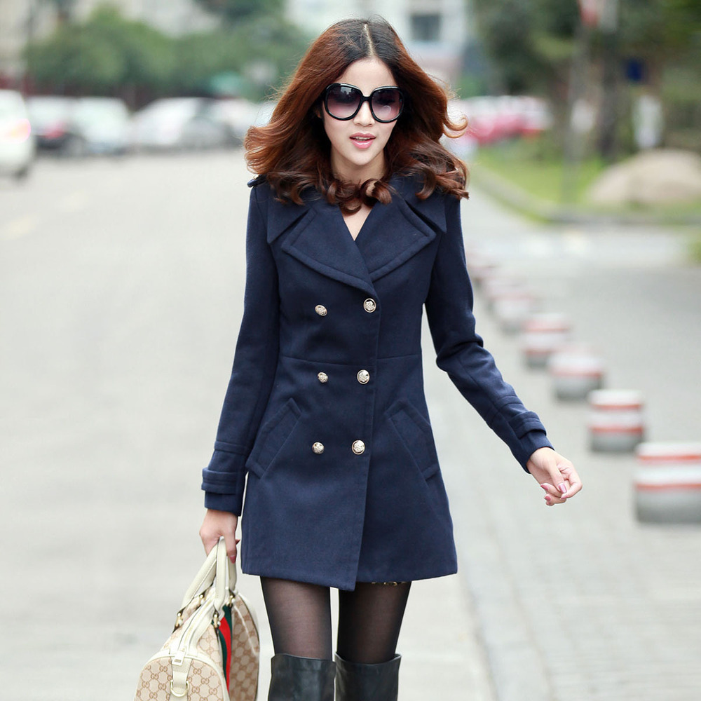 Women woolen overcoat Autumn winter fashion women's medium-long slim cotton lapel thick warm wool coats - Whats Apparel store