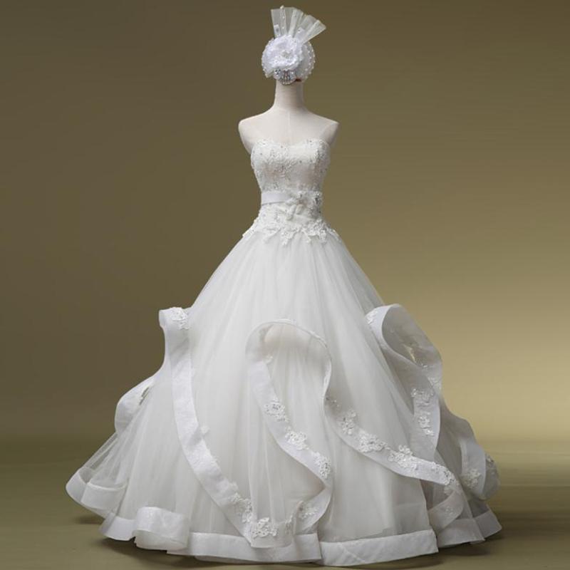 Free shipping luxury wedding dress beading ball gown wedding dress real sample photo ruffles white wedding dress 2014(China (Mainland))