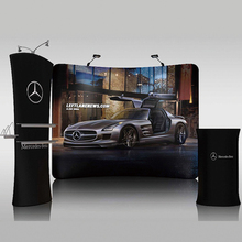 10ft protable tension fabric curved trade show display booth pop up banner stand backdrop wall custom graphic printing Free ship(China (Mainland))