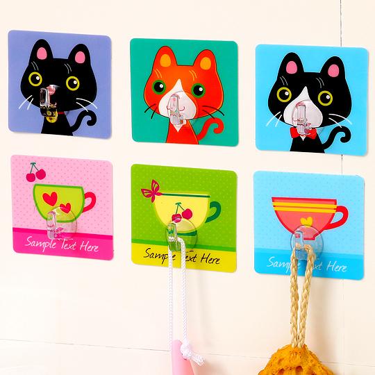 4pcs/set Free Seamless Cartoon Fruit Series Nail Hook Magic Square Stickers Wall Mounted Strong Adhesive Hook Wall Hook Hangers(China (Mainland))