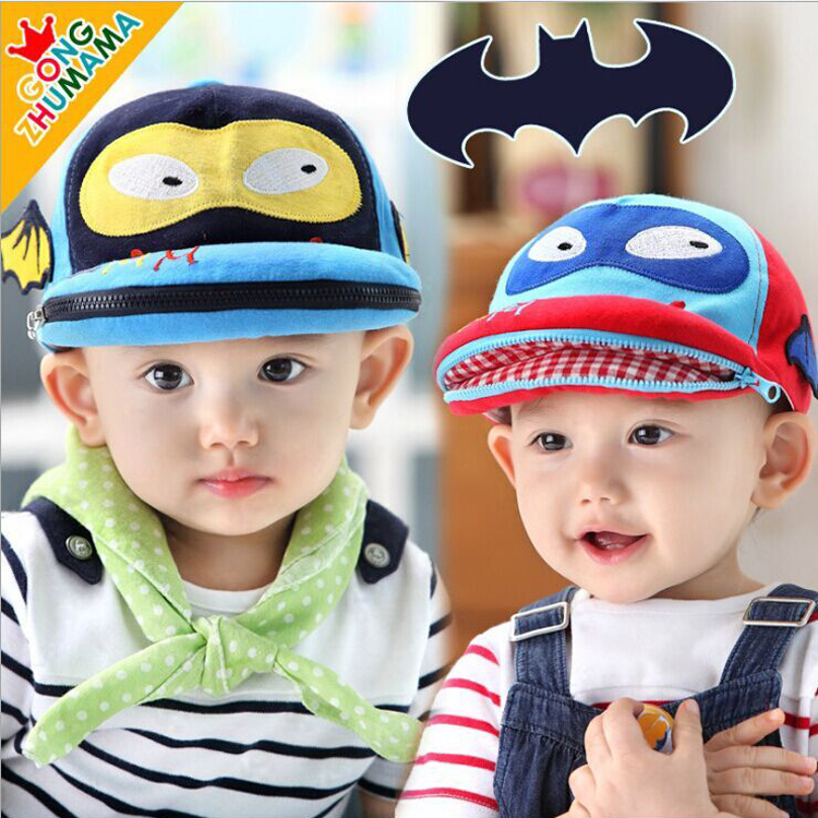baby caps baby zipper bat man baby cap infant unisex cotton hats dorpshipping retail 1pcs KH259R(China (Mainland))