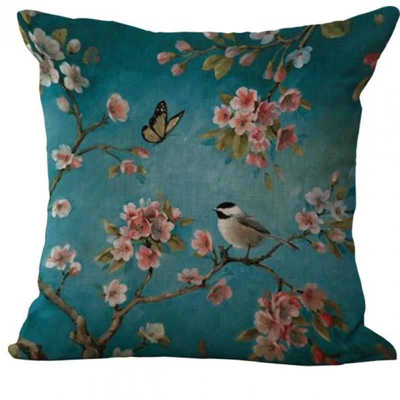 Wholesale Customized All Kinds Of Birds Pattern Linen Throw Pillow Case Cushion Cover Office Chair Pillow