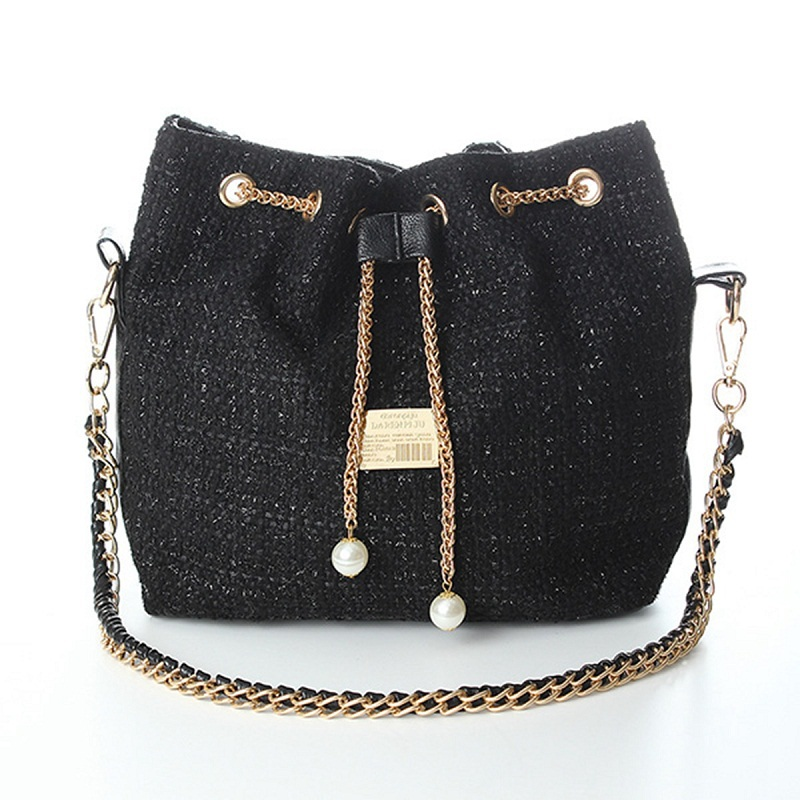 2015 Fashion New Plover Canvas Pack Pearl Chain Bucket Shoulder Oblique Cross Body Inclined Messenger Bag Valentines Gift(China (Mainland))