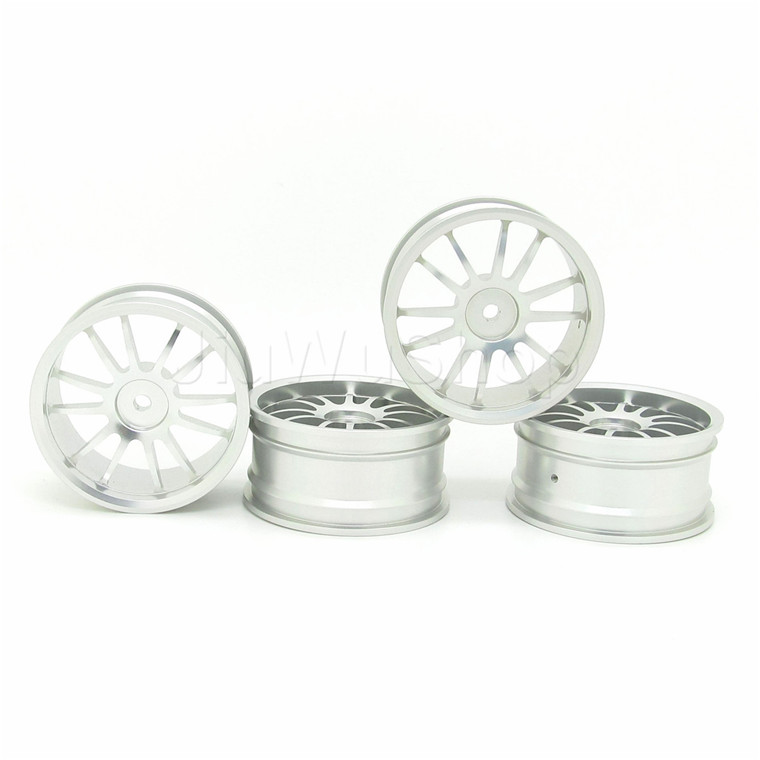 4pcs RC Car 1/10 Silver 12 Spokes Wheel Rim Aluminum Alloy For On Road Car Racing Car(China (Mainland))