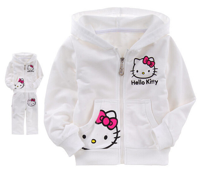 2pcs/set Hello Kitty Girls Clothes Sets 2016 Spring Casual Long Sleeve Clothing Sets For Children Kids Roupa Infantil CC295-CGR3(China (Mainland))