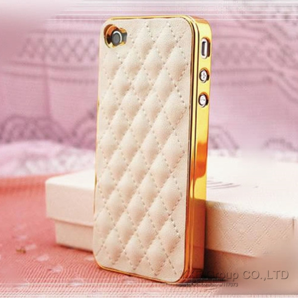 Luxury Fashion Elegant Gold Black PU Leather Case for Apple iPhone 4 4S / 5 5S Soft Grid Pattern Back Skin Cover YXFac259(China (Mainland))