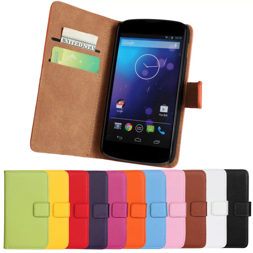 100%Genuine Leather Case For Flip Cover Case LG Nexus 4 ...