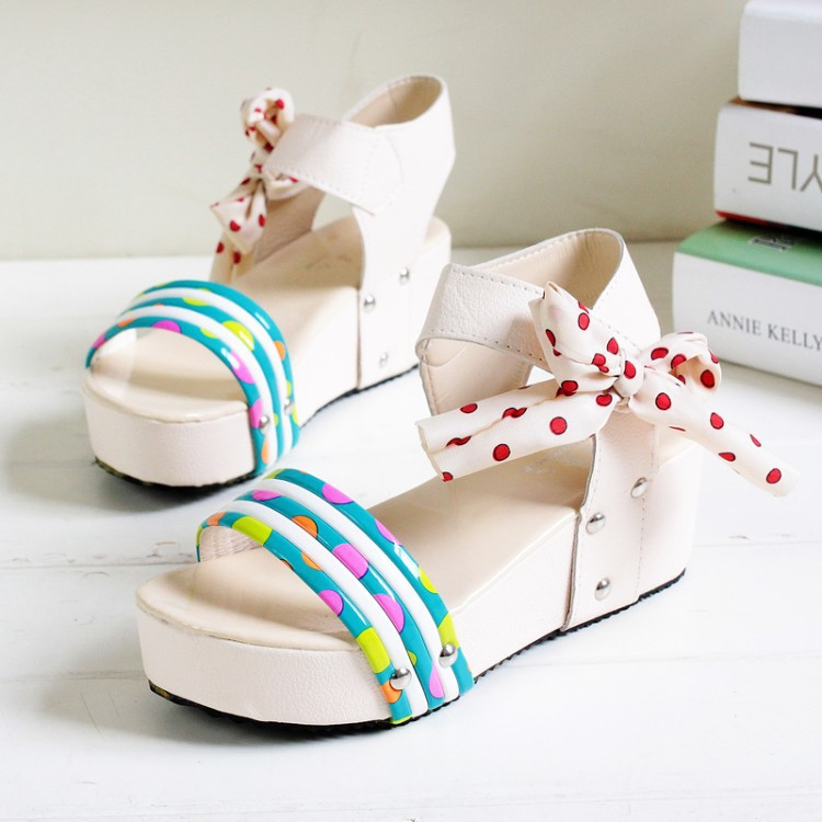 2015 New flat bottomed muffin College Wind ribbon bow sandals Feminina asapato anabela sandalias anabelas plataformas(China (Mainland))