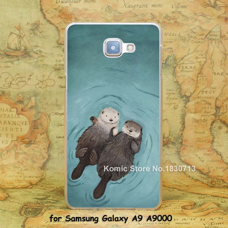 lovely otters holding hands Design hard transparent clear Skin Cover Case for Samsung Galaxy a3 a5 a7 a8 a9(China (Mainland))