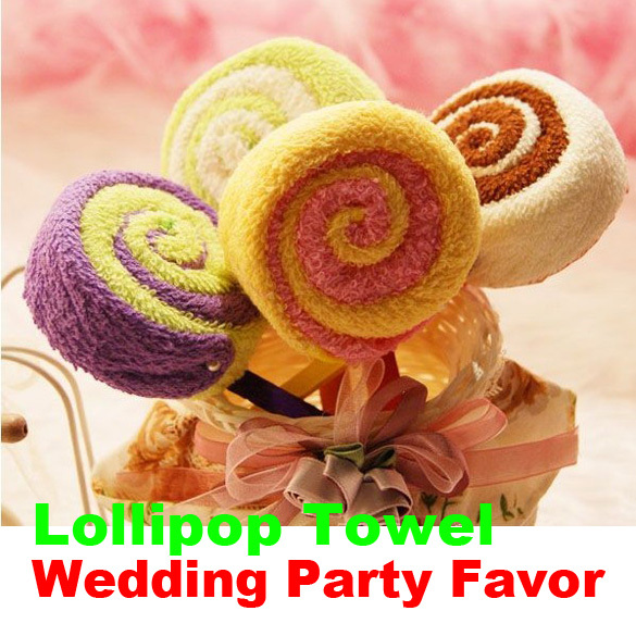 Free Shipping Hot Sale Washcloth Towel Gift Lollipop Towel Bridal Baby Shower Wedding Party Favor(China (Mainland))