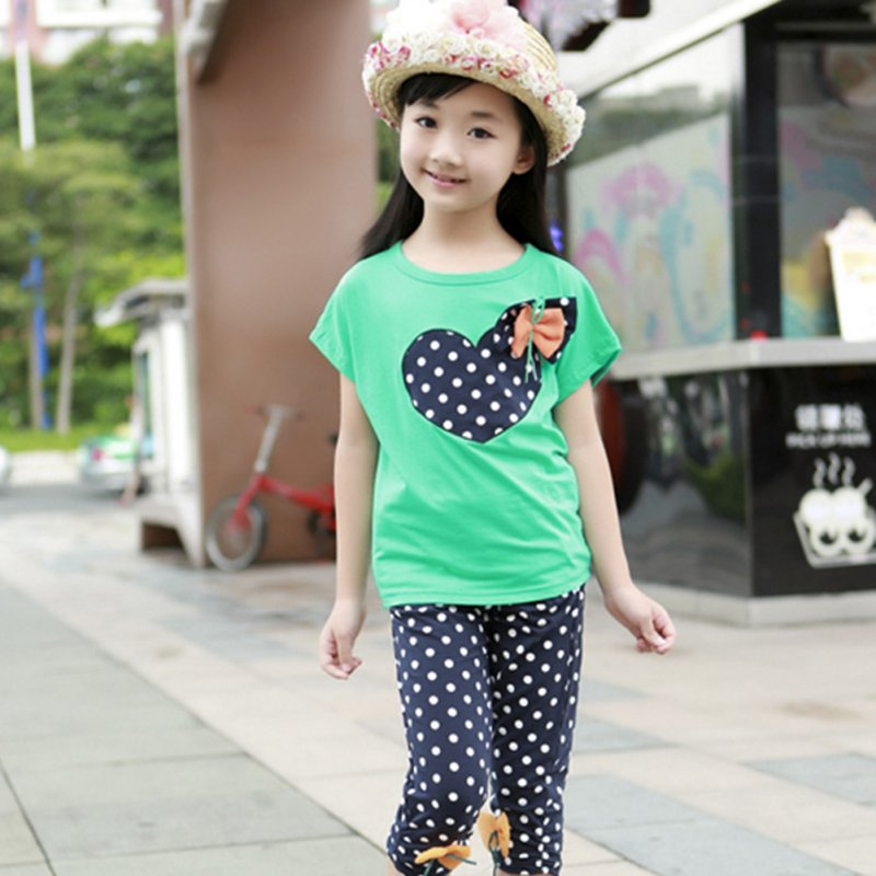 Factory Price! Girls Kids Toddler T-shirt + Trousers Polka Dot Pants Suit Cloth Two-piece Children Sets(China (Mainland))