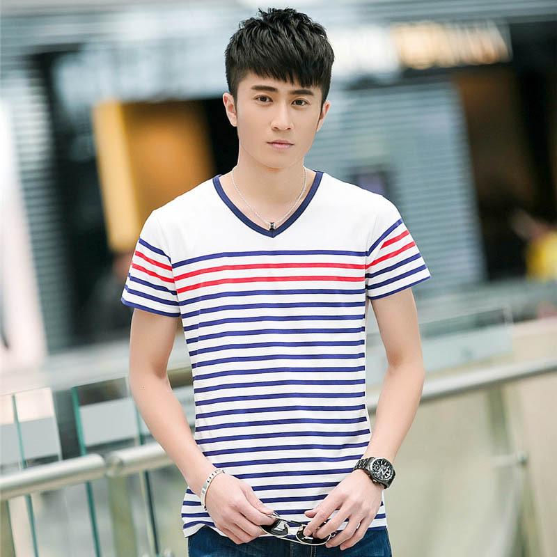 causal striped men t shirt short sleeve tshirts slim fit. Black Bedroom Furniture Sets. Home Design Ideas