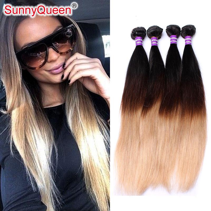 Фотография Sunny Queen Hair Products 6A Brazilian Virgin Hair 4 Pieces Ombre Hair Extensions Ombre Brazilian Hair 3 tone 1b/4/27 100g/3.5OZ