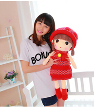 """Fashion girl doll attractive cute stuffed doll plush girl toy 50cm 20""""  and 65cm 24"""" figure doll series soft toy(China (Mainland))"""
