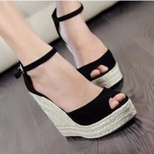 Ladies Shoes 2015 High Heels Sandals Summer Women's Open Toe Strap Straw Braid Wedges Platform Beach Espadrilles Big Small Size(China (Mainland))