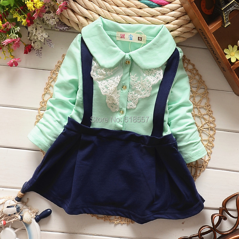 T1678 New 2015 Spring Baby Girl Clothing,Long Sleeve Quality Cotton Infant Dresses,Cute Sweet Lace Suspender Straped Dress F15(China (Mainland))