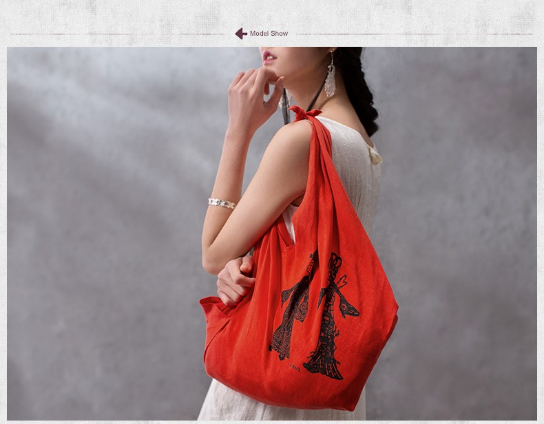 Enthetic Style Casual Soft Hand Bag Shadow Figures Printing Linen Blended Fabric Super Light Bag Ladies Desginer Shoulder Bag