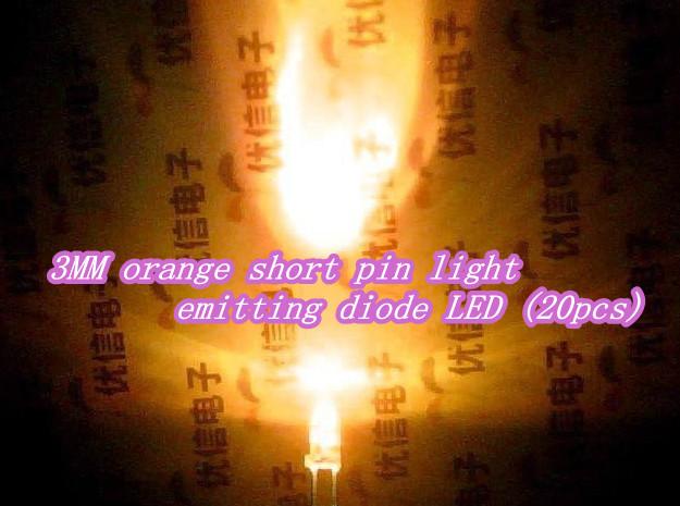 3MM orange short pin light emitting diode LED (20pcs)(China (Mainland))