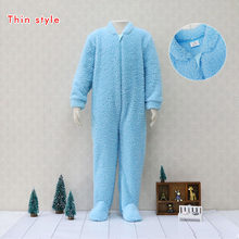 Ambos-side levantadas flannelette One Pieces Bodysuits Crianças pijamas Crianças dorminhoco Quente Zíper Meninos Roupas de Bebê de natal(China)
