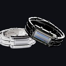 Moda fresca Lava relojes deportivos binario de luz LED azul reloj de acero completo para hombres mujeres vestido de pulsera pulseras envío gratis