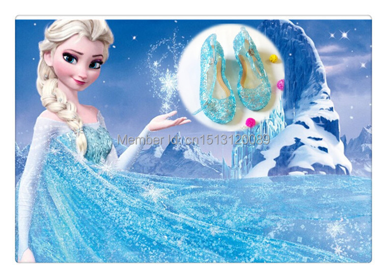 2015 Snow Queen Elsa princess shoes Anime cosplay shoes Fashion Lolita sweet Children's shoes girl wedge cheap blue shoes(China (Mainland))