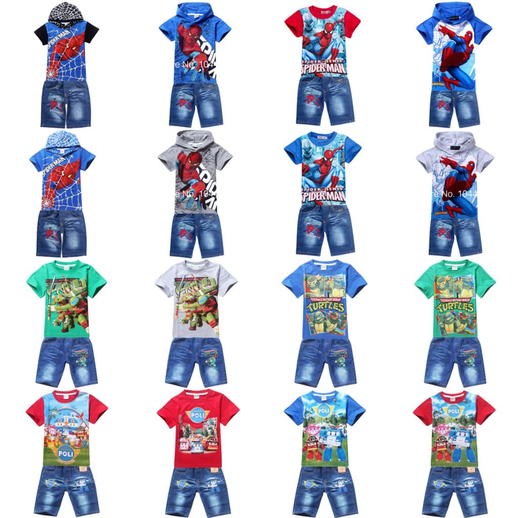 spiderman boys clothing set 2015 summer kids short sleeve tops tees t shirt denim jean clothes