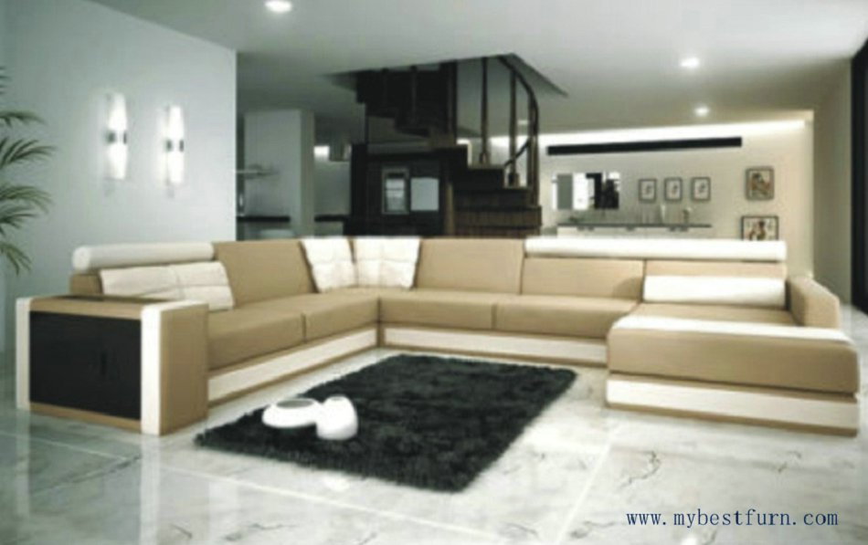 Free Shipping Moden Leather sofa, 2 Color U Shaped Villa Sofa Set, Best Living Room Furnitiure S8550(China (Mainland))