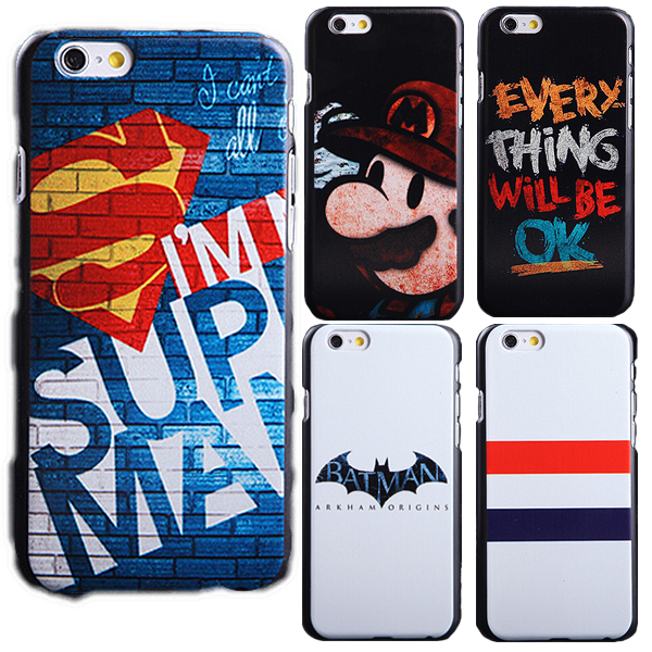 Phone case 8 styles pattern New Arrivals superman Mario batman hard case for iphone 6 4.7 inch back cover(China (Mainland))