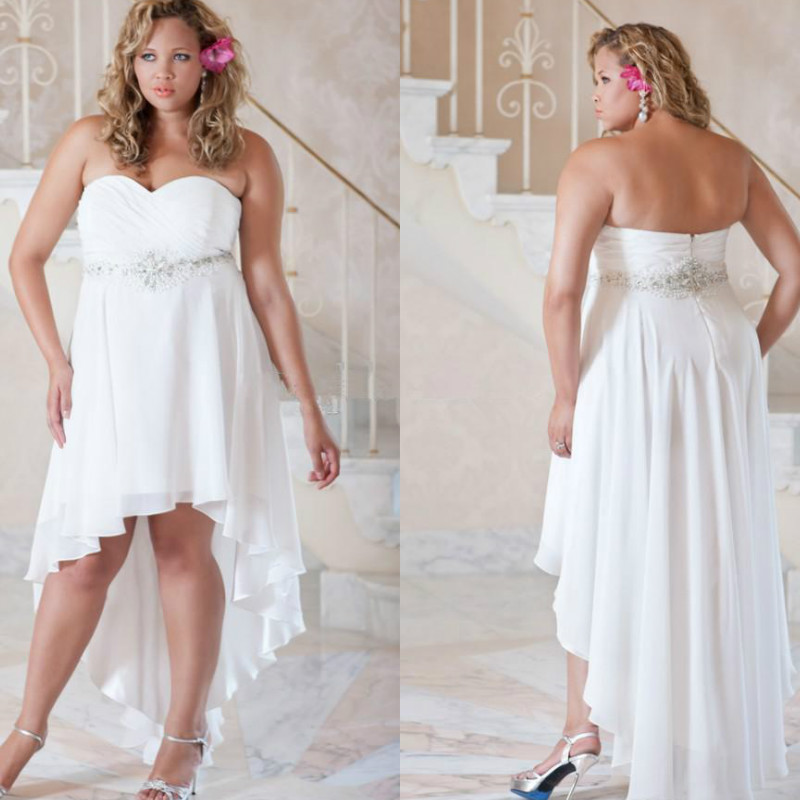 Plus Size Wedding Dresses 2016 Beaded White Chiffon Short Front Long Back Sexy Hi Low Beach