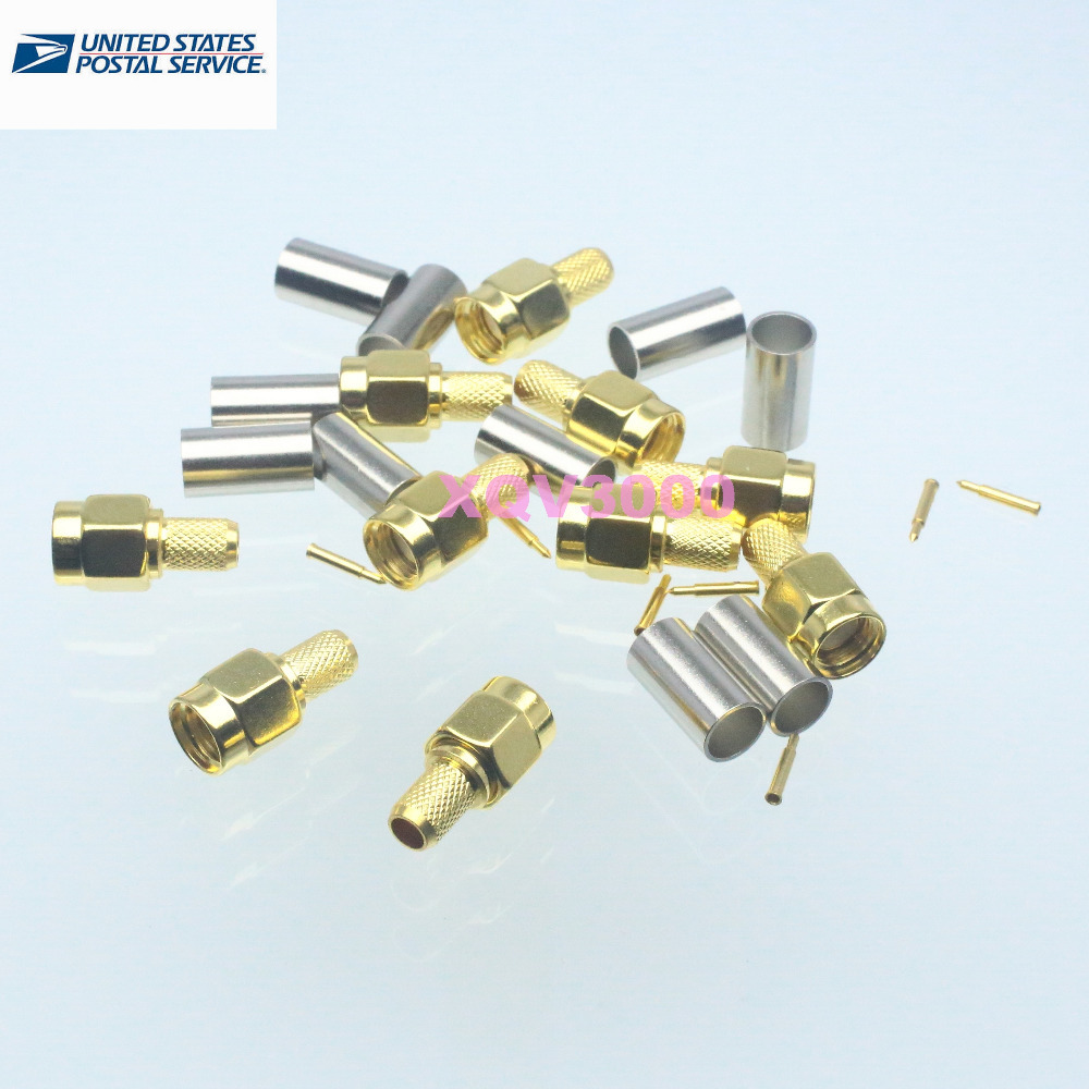 10pcs SMA male plug crimp RG58 LMR195 RG142 RG400 RG223 RF connector(China (Mainland))