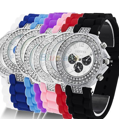 Fashion Geneva Silicone Crystal Quartz Watch Ladies Women Jelly Wrist Versicolor Candu Colors Sale 1NQE - BlueSky- store