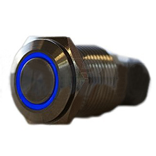 JFYB Silver Stainless Steel Blue LED Latching Pushbutton Switch 16mm(China (Mainland))
