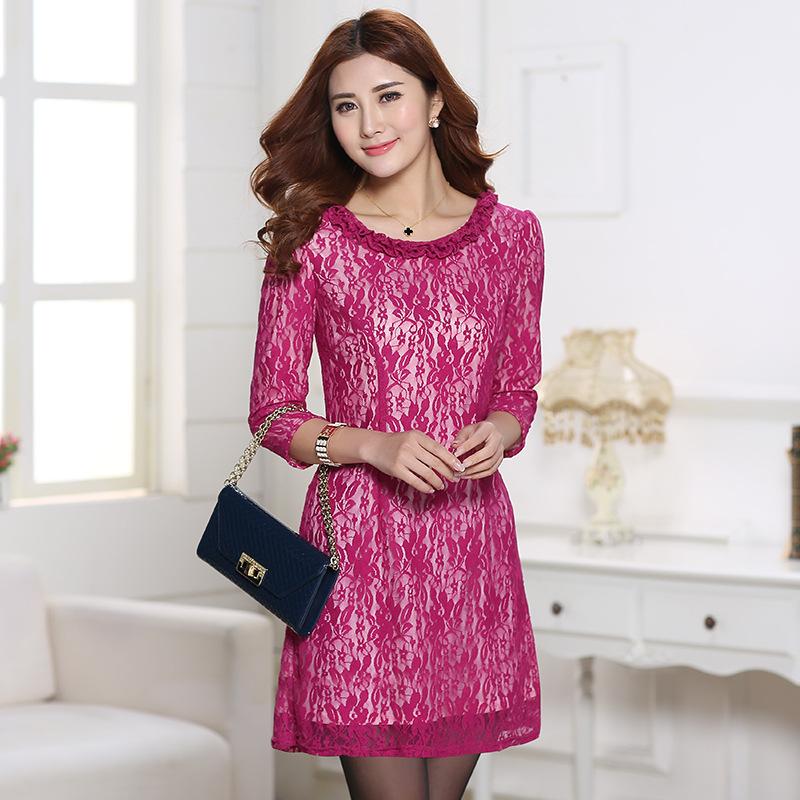 2015 summer dress ruffles o-neck half sleeve knee mini lace dresses plus big lare size xxl 3xl 4xl women clothing - Sunflower Fashion store