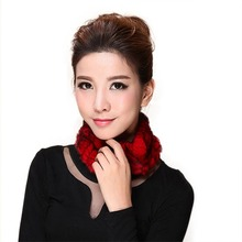 Lovely Women Knitted Rex Rabbit Fur Neckerchief Cute Fur Round Wrap Fashion Girl Winter Scarf Warm Neck Warmer AU00233(China (Mainland))