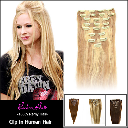 Honey Blonde Brazilian Hair With Clips 22 24 Inch Human Brazilian Clip Ins Remi 100G 200G Clip Hair Extensions Mixed Color(China (Mainland))