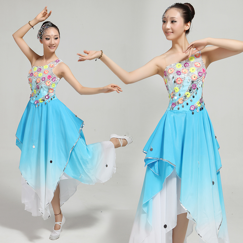 new Chinese classical dance costumes rhinestone sequined blue Gradient yangko/fan/flower/umbrella spring dance clothing(China (Mainland))