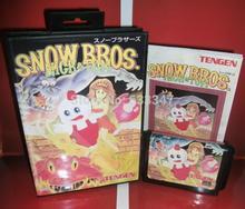 Sega games card - Snow Bros with box and manual for Sega MegaDrive Video Game console system 16 bit MD card(China (Mainland))