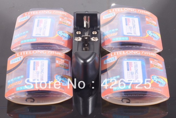 4 x 9v li-ion lithium Rechargeable 9 Volt Battery 880mAh + Universal AA AAA 9V 18650 Ni-MH 123A 14500 Charger 5 years warranty(China (Mainland))