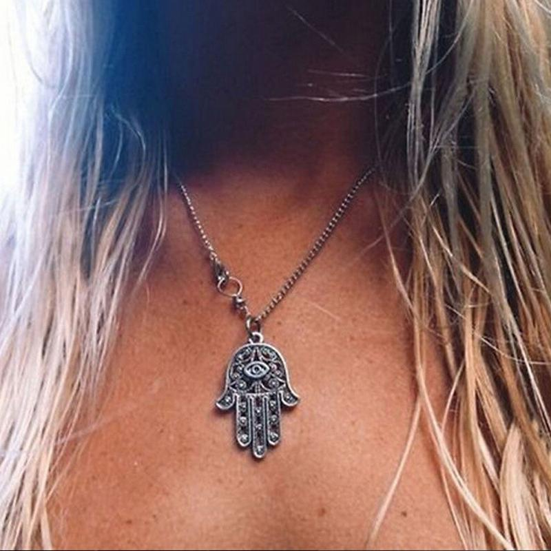 Hamsa Fatima Hand Pendant Charm Silver Chain Necklace Jewish Judaica Kabbalah Pendant Chain Necklace For Women Gifts(China (Mainland))