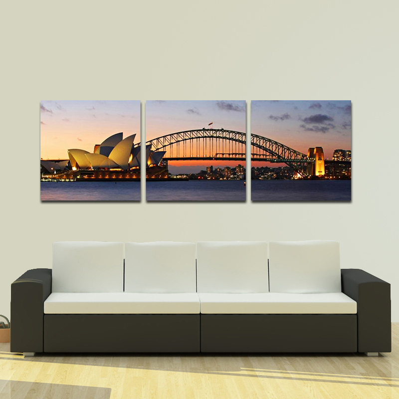 Unframed Modern 3 Pcs Canvas Prints Museum of Sydney Landscape Pictures Paintings on Canvas Wall Art for Bedroom Home Decoration()