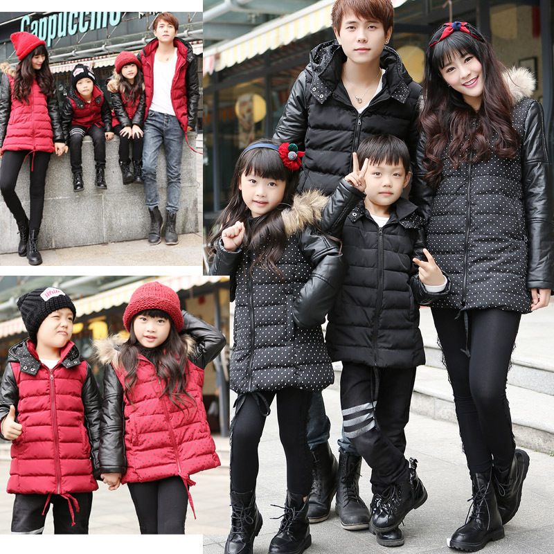 The whole family home  Korean children winter clothing wholesale wholesale home full paternity stitching