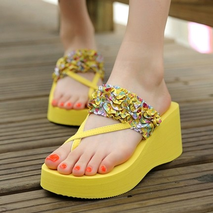 zapatos mujer plataforma 2015 summer style new EVA canvas flowers casual gold platform sandals women free shipping 0325(China (Mainland))